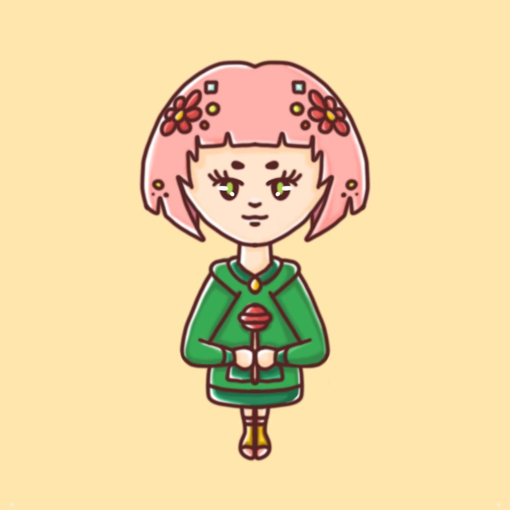 Darstellung einer weiblichen Person mit rosa Haaren und grünem Oversize-Pullover in einem kindlichen, illustrativem Stil