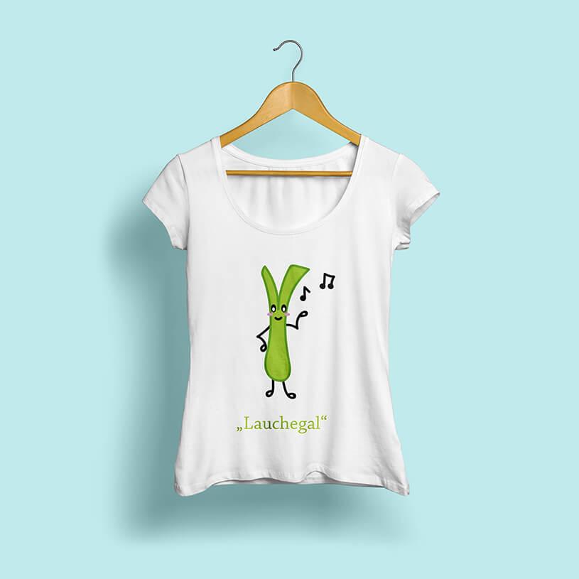 Mockup eines mit einer illustrierten Lauchstange bedruckten Shirts