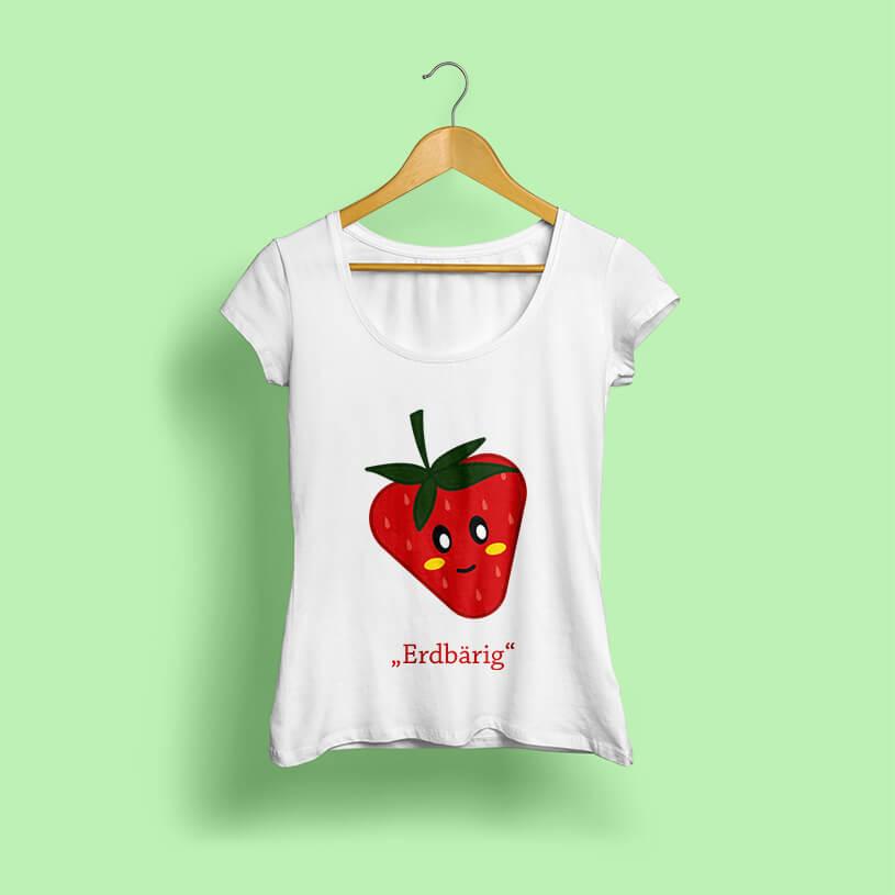 Mockup eines mit einer illustrierten Erdbeere bedruckten Shirts