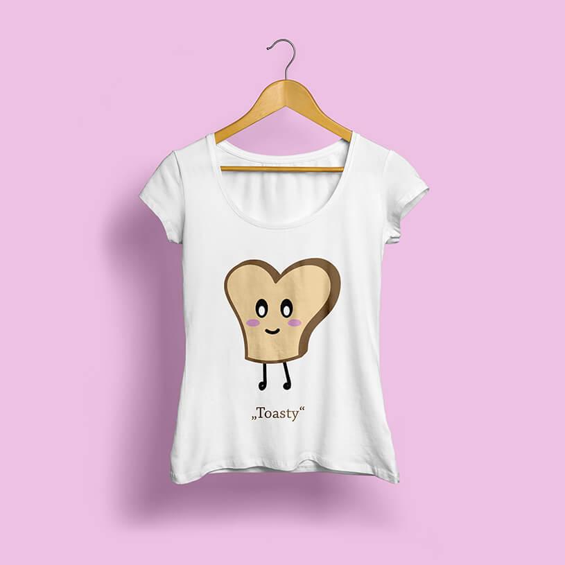 Mockup eines mit einer illustrierten Toastscheibe bedruckten Shirts