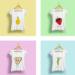 Darstellung von vier Shirts mit unterschiedlichen illustrierten, gesunden Lebensmitteln als Aufdruck