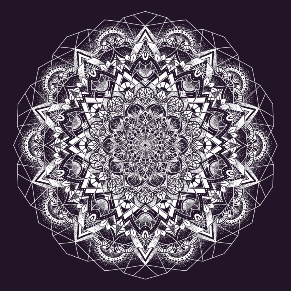 Darstellung eines detaillierten Mandalas in Weiß auf dunklem Hintergrund