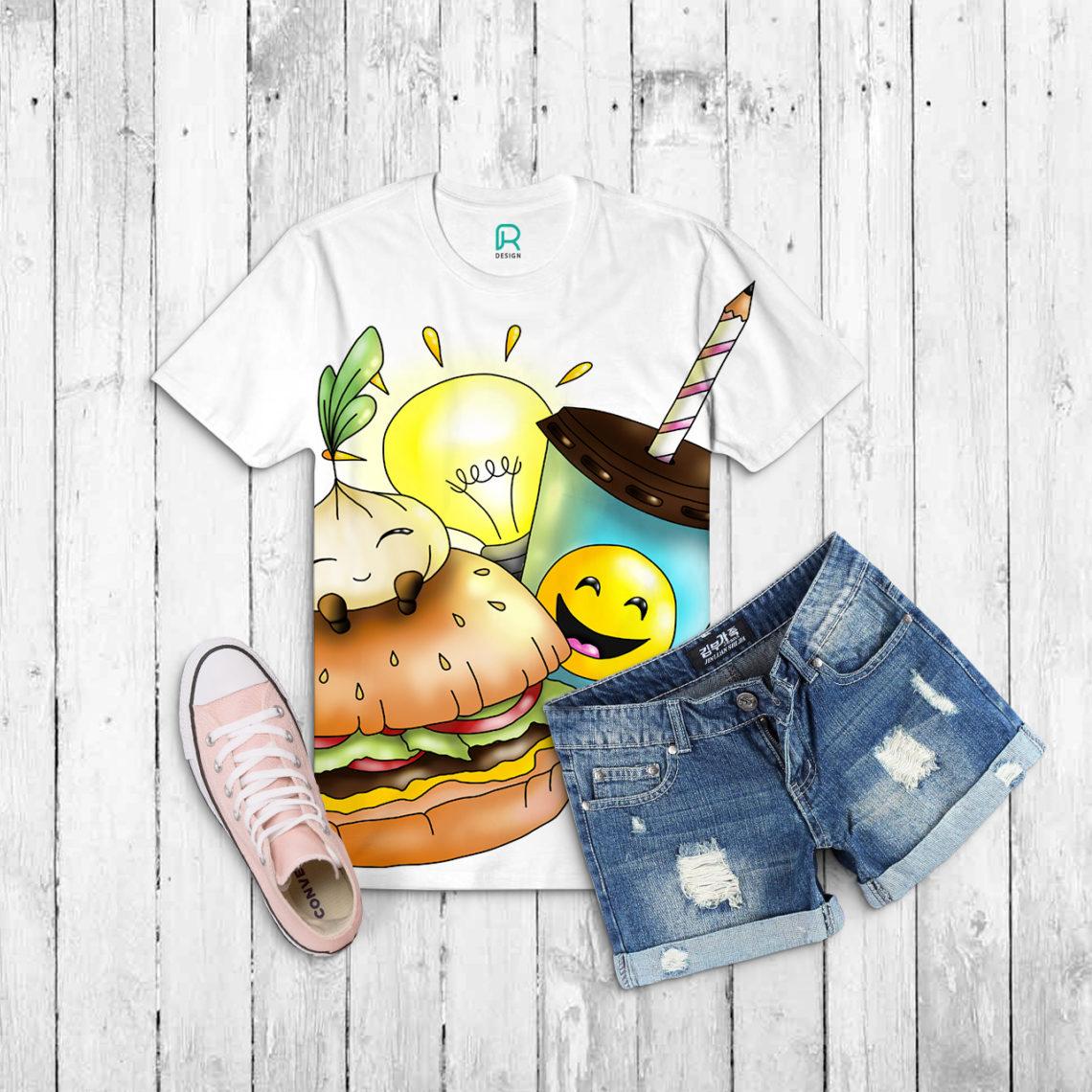 Veranschaulichung der bunten Illustration als Mockup auf einem weißen Shirt