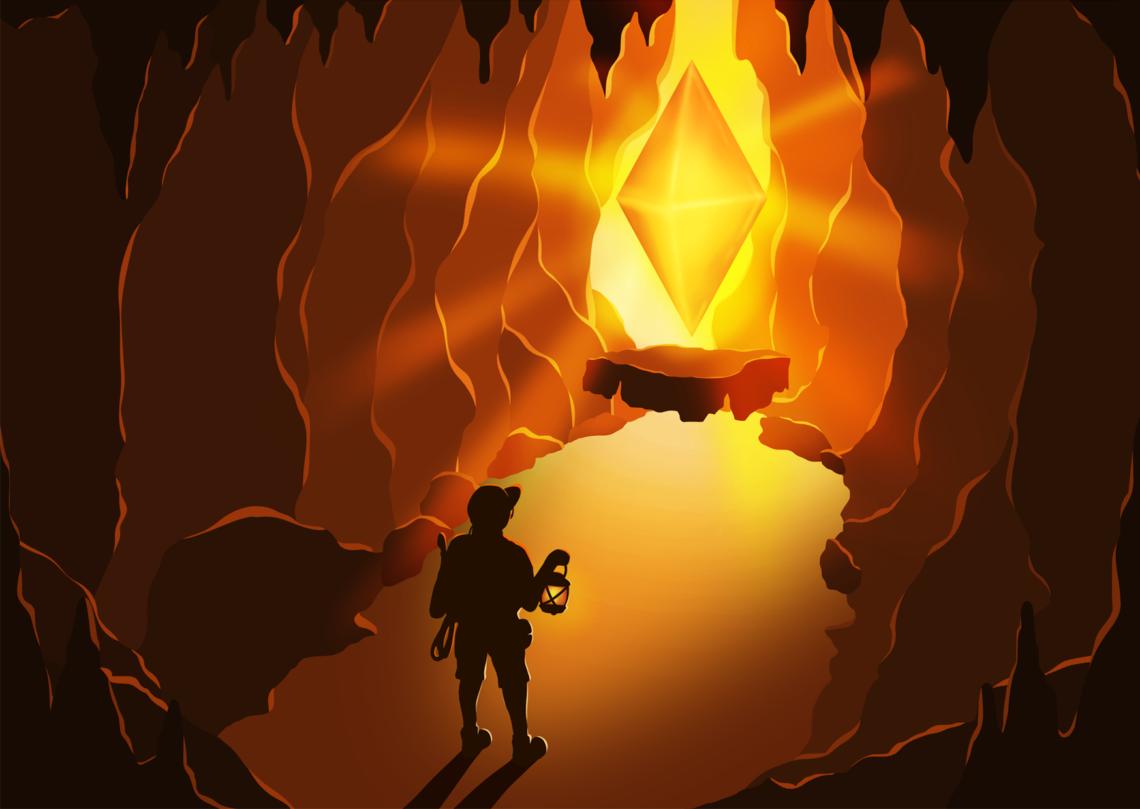 Illustration einer Höhlenforschung in Braun-, Orange- und Gelbtönen