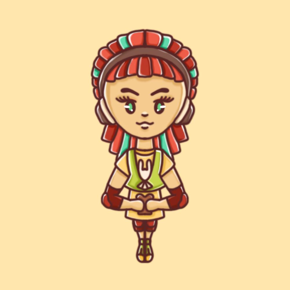 Darstellung einer weiblichen Person mit Kopfhörern und bunten Dreadlocks in einem kindlichen, illustrativem Stil