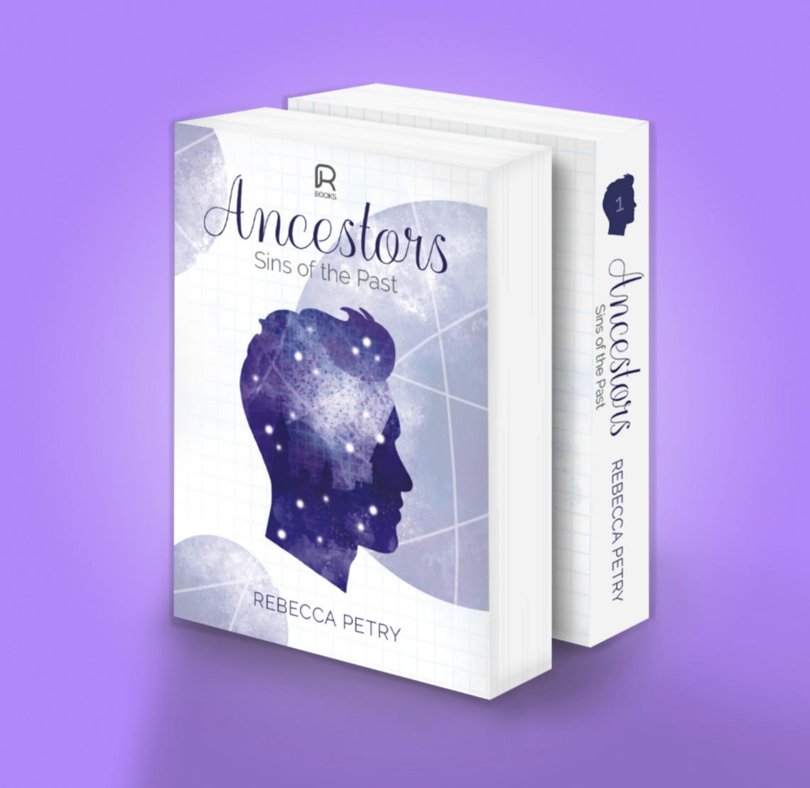 Ansicht der Vorderseite und des Buchrückens des ersten Buches der Ancestors-Trilogie in den Farben Blau und Violett