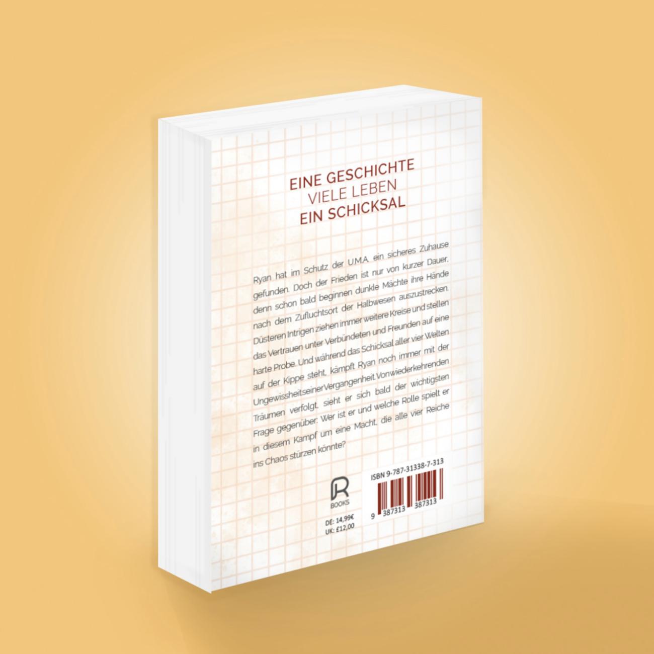 Rückansicht des zweiten Buches der Ancestors-Trilogie mit Zusammenfassung, Preisangaben und fiktivem ISBN-Code