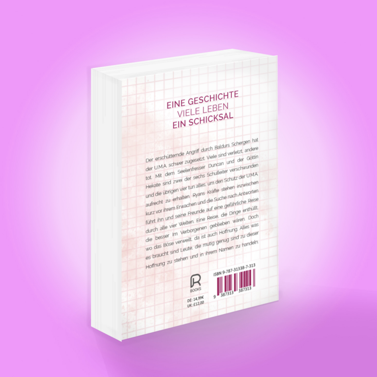 Rückansicht des dritten Buches der Ancestors-Trilogie mit Zusammenfassung, Preisangaben und fiktivem ISBN-Code