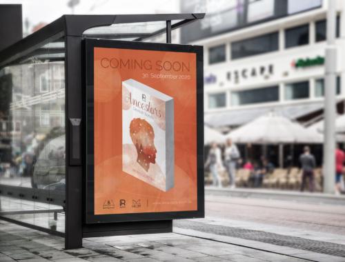 Mockup eines fiktiven Werbeplakats zur Veröffentlichung des zweiten Buches der Ancestors-Trilogie an der digitalen Werbetafel eines Bushäuschens
