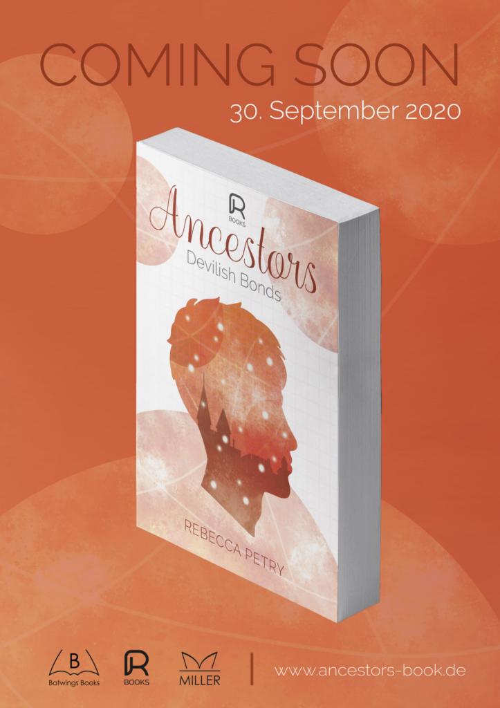Werbeplakat in den Farben Braun und Orange mit fiktiven Angaben zur Veröffentlichung des zweiten Buches der Ancestors-Trilogie