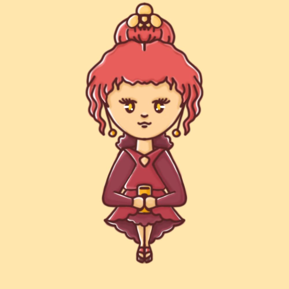 Darstellung einer weiblichen Person mit rotem Abendkleid und Haarornamenten in einem kindlichen, illustrativem Stil