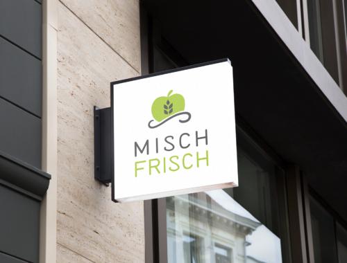 Darstellung des Logos von Misch Frisch in den Farben Hellgrün und Dunkelgrau