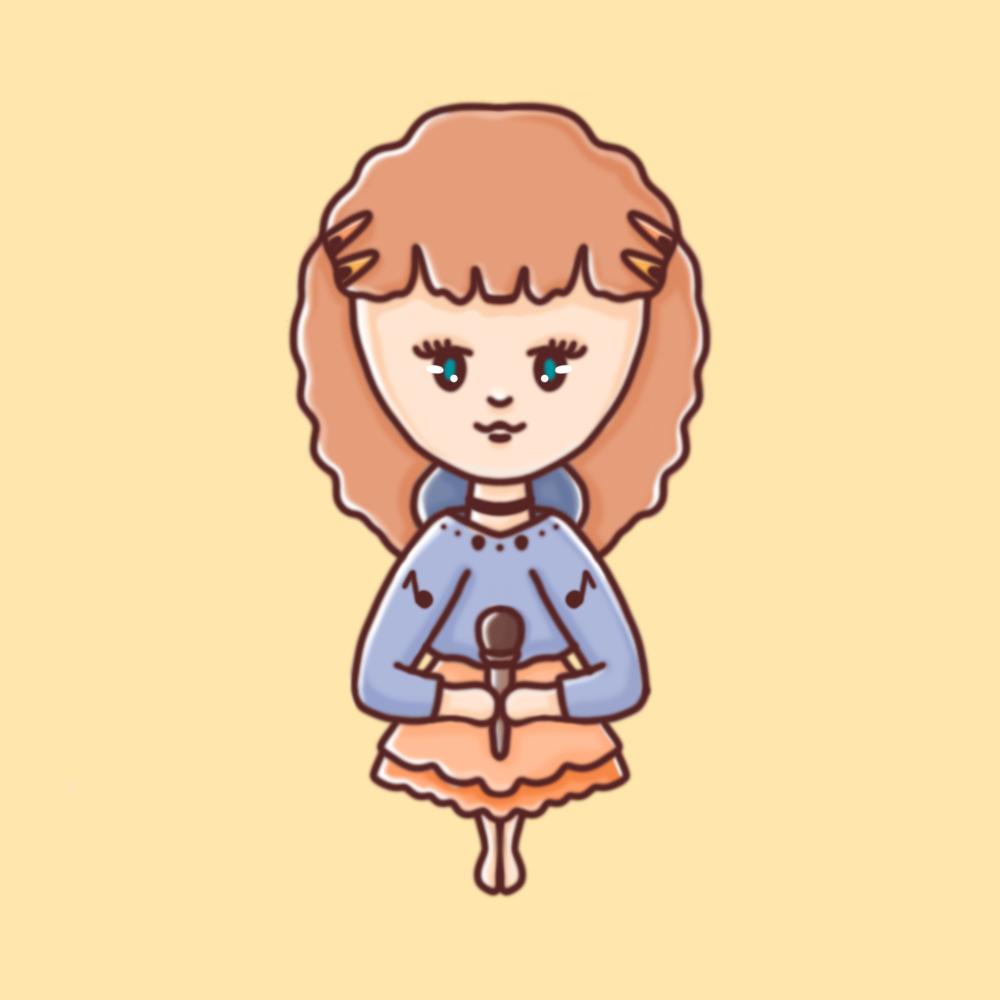 Darstellung einer weiblichen Person mit Mikrofon in einem kindlichen, illustrativem Stil