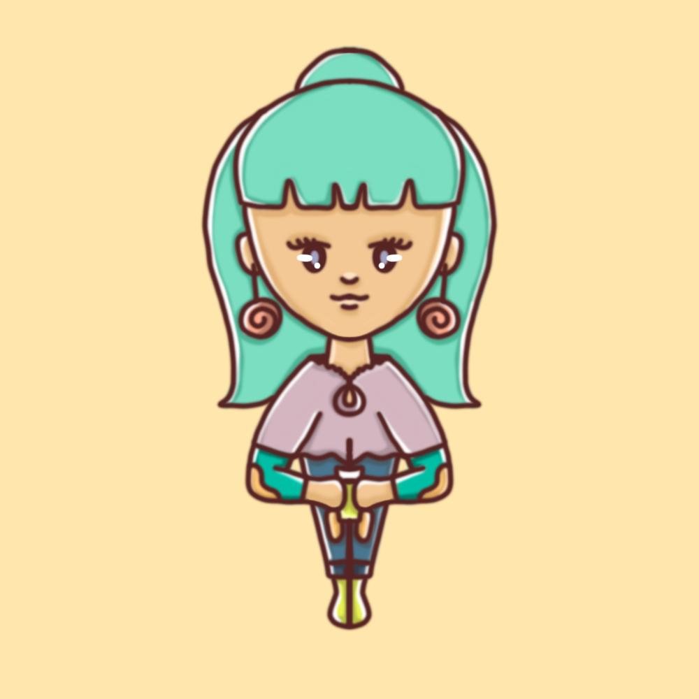 Darstellung einer weiblichen Person mit türkisen Haaren und Spiral-Ohrringen in einem kindlichen, illustrativem Stil