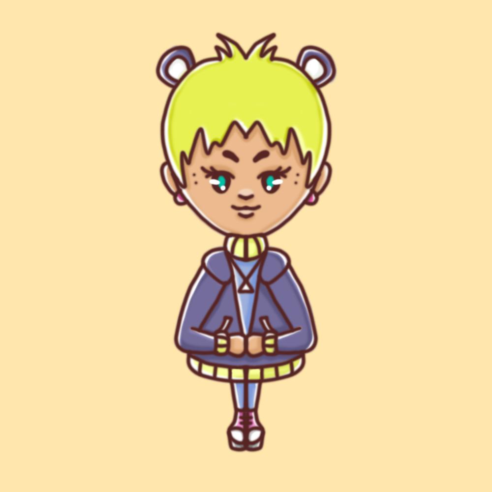 Darstellung einer weiblichen Person mit neonfarbenem Kurzhaarschnitt, blauer Jacke und Mauseohren in einem kindlichen, illustrativem Stil