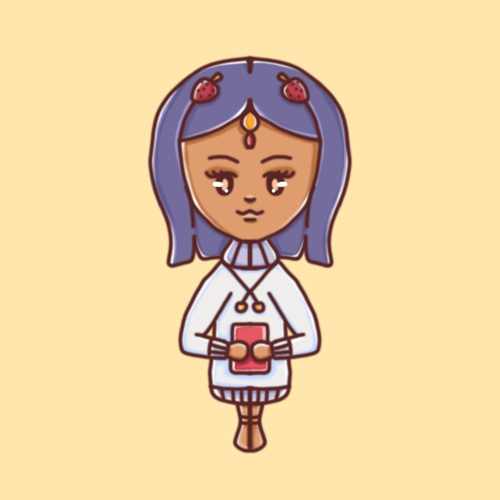 Darstellung einer weiblichen Person mit Rollkragenpullover und Haarschmuck in einem kindlichen, illustrativem Stil