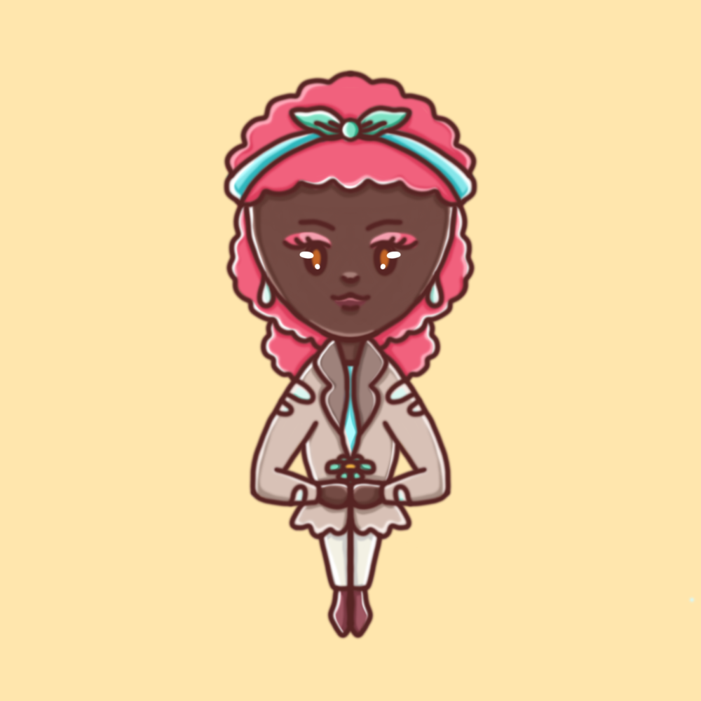Darstellung einer weiblichen Person mit kaffeefarbener Haut und pinken, gelockten Haaren in einem kindlichen, illustrativem Stil