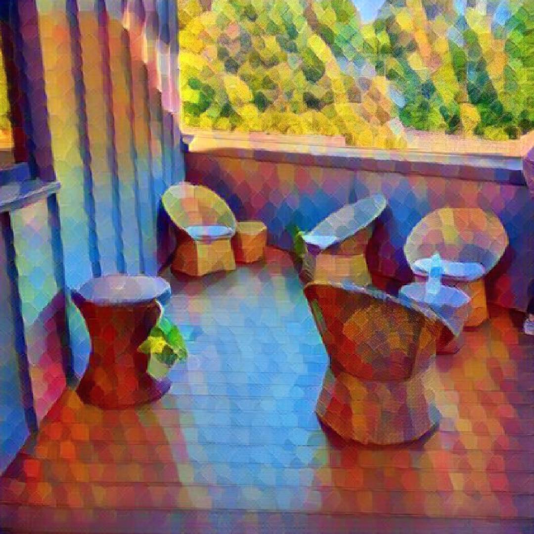 bearbeitetes Foto der sonnenbeschienenen Dachterrasse des Studentenwohnheims Chapel Heights